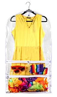 Clear Gusseted Suit Garment Bag 20 inch x 38 inch Dance, Dress, and Costumes Hanging Travel Storage for Clothes, Shoes, and Accessories Water-Resistant Organizer (1)