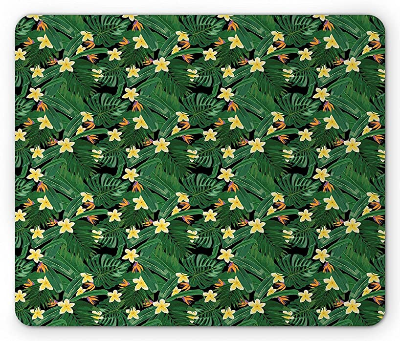 Exotic Mouse Pad, Jungle Flowers Plants Tropical Leaf Hawaiian Summer Aloha Print, Standard Size Rectangle Non-Slip Rubber Mousepad, Hunter Green Pale Orange Black,9.8 x 11.8 x 0.118 Inches