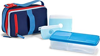 Fit & Fresh Expandable Bento Box Lunch Kit, Insulated Lunch Bag with BPA-Free Containers, Americana Blues