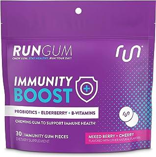 Run Gum Immunity Gum, 30ct Bag, Probiotics, Elderberry, B-Vitamins