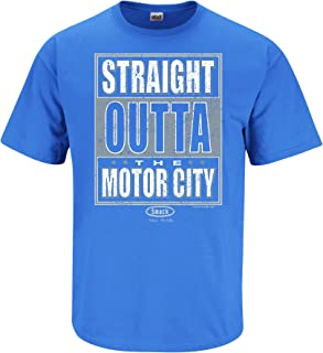 Smack Apparel Detroit Football Fans. Straight Outta The Motor City Iris T-Shirt (Sm-5X)