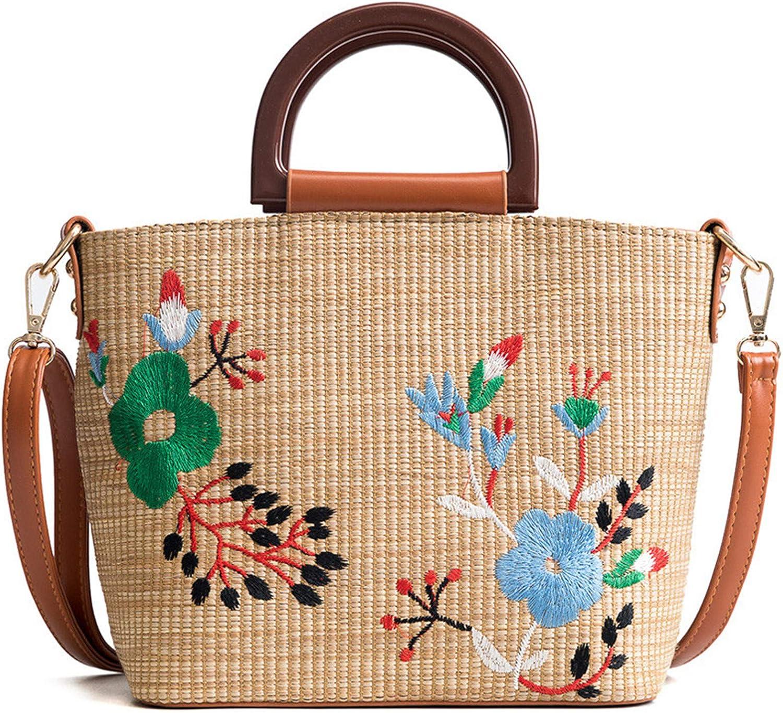 Ownstyle Handmade Embroidery Flower Handbag Straw Woven Purse Straw Weaving Grass Handbag Acrylic Purse Handle Basket Making Supplies (Brown)