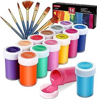 WOSTOO Set med akrylfärger, akrylfärg set med 21 akrylfärger på flaska 14 färger och 7 målarborstar, icke-giftiga och livl...