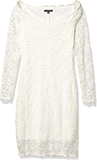 Marina Women's Off The Shoulder Lace Dress with Scalloped Neckline