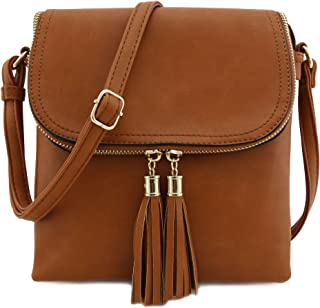 Flap Top Double Compartment Crossbody Bag with Tassel Accent