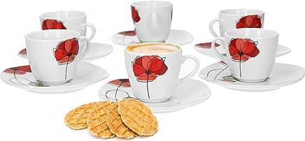 Preisvergleich für Van Well Monika 6er Set Espressotasse + Untertasse, Espresso-Set, Blumendekor, edles Marken-Porzellan