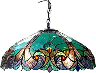"""Chloe Lighting CH18780VG18-DH2 Liaison Tiffany-Style Victorian 2-Light Ceiling Pendent with Shade, 8.5 x 18 x 18"""", Bronze"""
