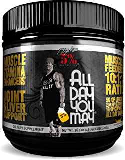 Rich Piana 5% Nutrition All Day You May BCAA & Joint Recovery Drink (Mango Pineapple) 17.2oz (465g) 30 Servings, Yellow