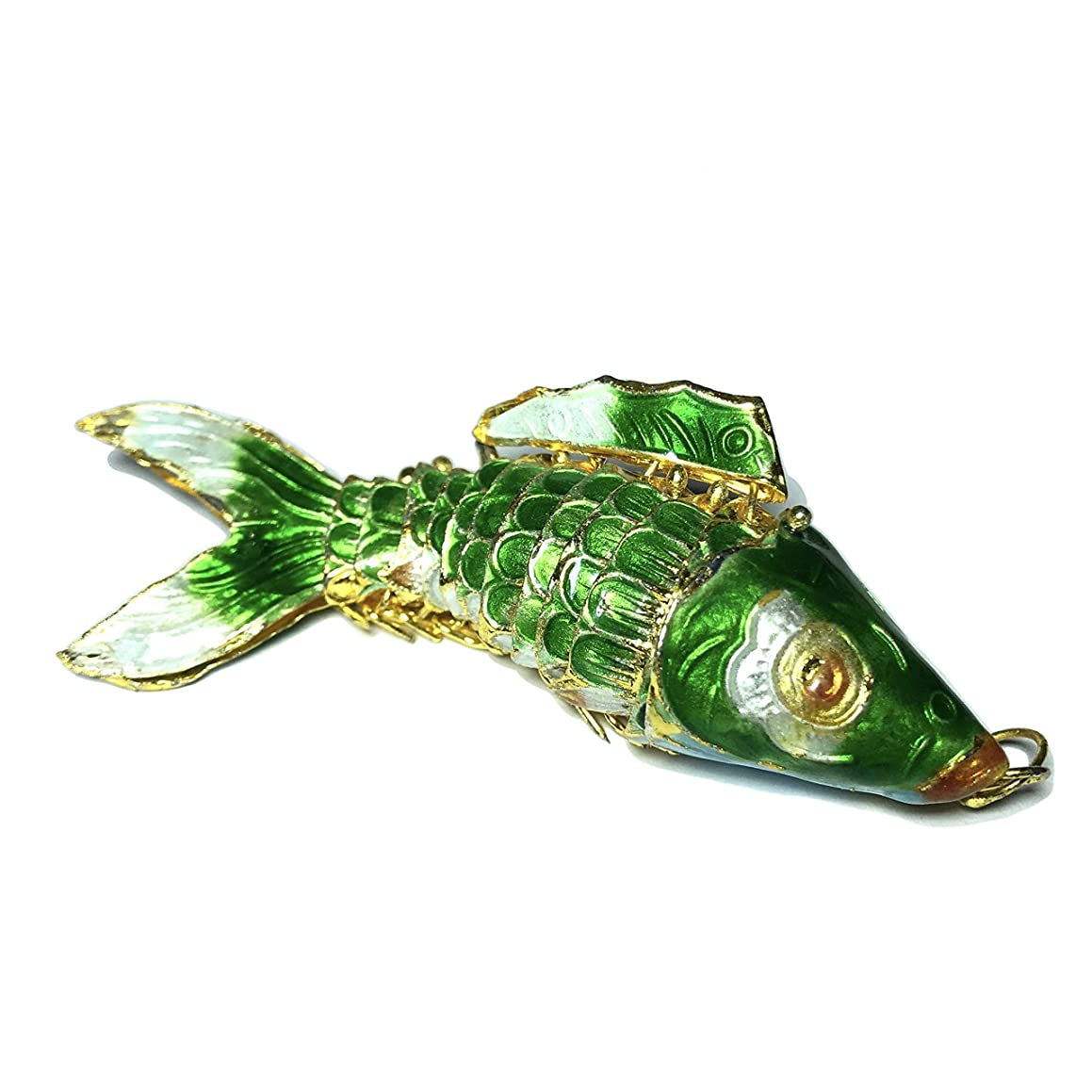 [ABCgems] Rare Antique Cloisonne Articulated Fish (Exquisite Color- Moves Like a Real Fish) 75mm Emerald Green Pendant for Beading & Jewelry Making