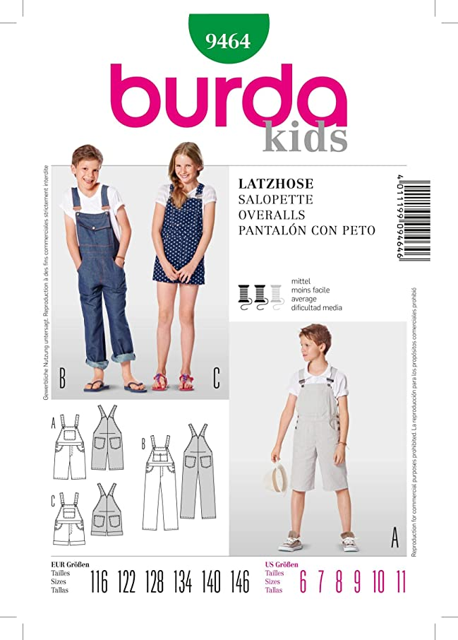 Burda Kids Overalls Sewing Pattern 9464