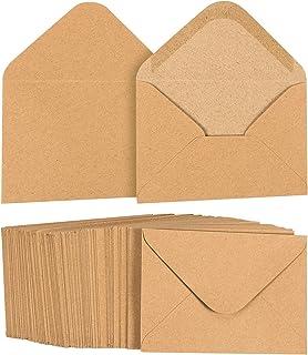 Juvale A1 Envelopes Bulk - 100-Count A1 Invitation Envelopes, Kraft Paper Envelopes for 5 x 3 Inch Wedding, Baby Shower, P...