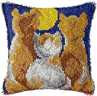Lanrui 2 Ensemble de Kits de Crochet de loquet Bricolage pour Coussin d'oreiller, pré-Empreintes Mignon Motif de Chat Orei...