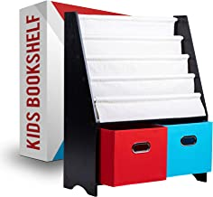 Kids Bookshelf with 2 Extra Large Cube Toy Organizers & 4 Sling Shelves – Space-Saving Book Rack for Kid's Bedroom Decor –...