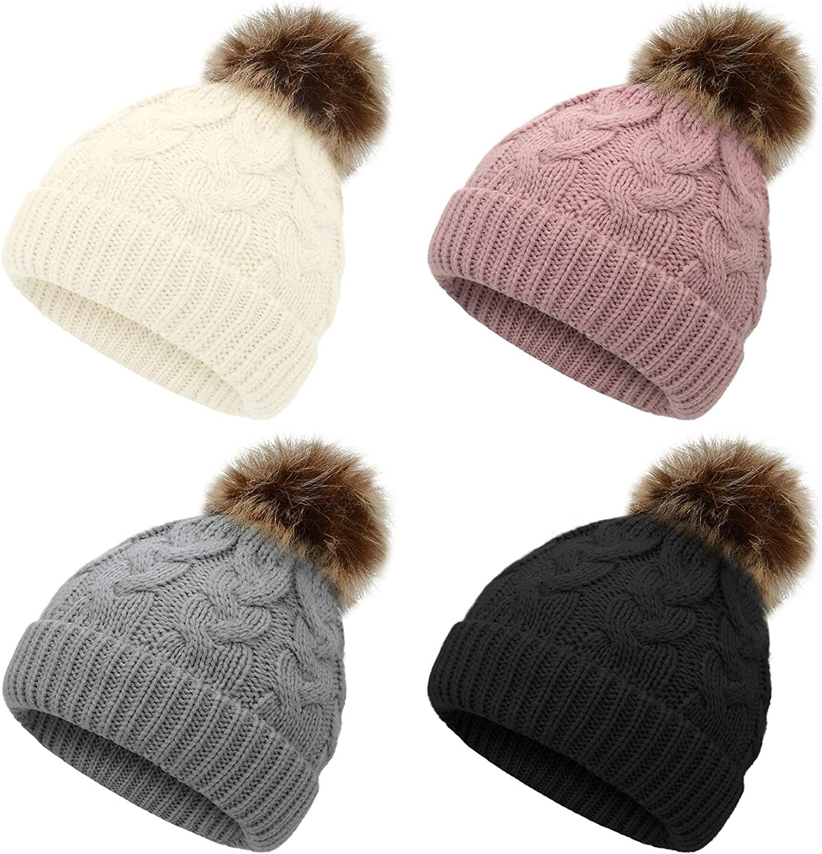 Zando Baby Hat for Girls Infant Pom Pom Beanie Kid Winter Hats Toddler Cap Knit Warm Beanies Caps for Baby Boys