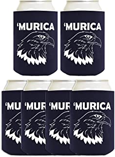Funny Can Coolie Murica Bald Eagle 6 Pack Can Coolies Navy