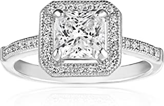Zoe R Sterling Silver Micro Pave Hand Set Cubic Zirconia Princess Cut Center Engagement Ring