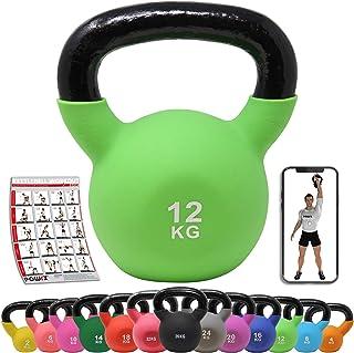 POWRX Kettlebell ghisa 2-26 kg - Ideale per Esercizi di »Functional Fitness« - Rivestimento in Neoprene & Presa Antiscivol...