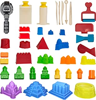 CoolSand Advanced Building Sand Molds & Tools Kit - Works with All Other Play Sand Brands - 37Piece Includes: Castle, Bricks & Walls Molds, & Tools - Sand Not Included