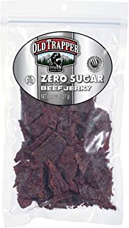 Old Trapper Zero Sugar Beef Jerky | Traditional Style Real Wood Smoked | Healthy Snack Made from 100% Top Round Steaks | 8 Ounce Bag
