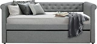 Homelegance Edmund Fabric Upholstered Daybed with Trundle, Twin, Gray