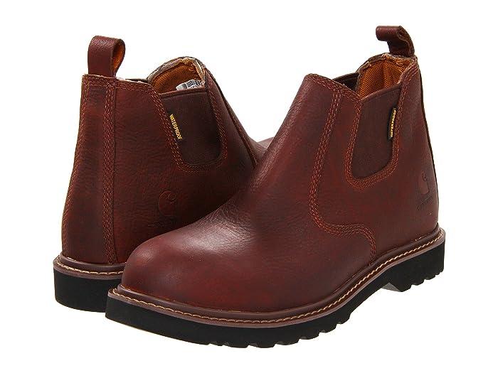 Carhartt  4 Waterproof Steel Toe Romeo Boot (Dark Brown) Mens Work Pull-on Boots