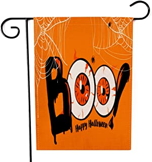 "Fiuqaomy Happy Halloween Boo Cobweb Garden Flag Vertical Double Sized, Holiday Burlap Yard Outdoor Decoration 12.6"" 18.5"""