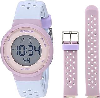Armitron Sport Unisex Digital Chronograph Interchangeable Silicone Strap Watch, 45/7124