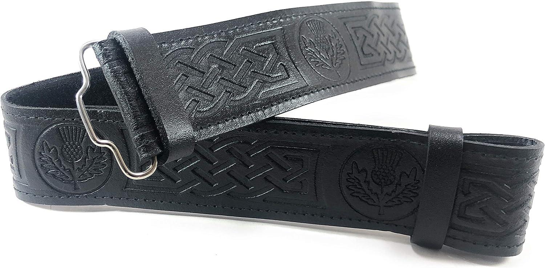 Scottish Belt Leather Kilt Belt Celtic knot Embossed and Antique Welsh Dragon Buckle Wide Leather Belt