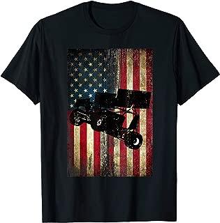 Sprint Car Dirt Track Racing Distressed American Flag Gift T-Shirt