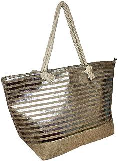 Große Damen Strandtasche mit Metallic-Druck, mit Reißverschluss oben, kann mit Initiale, Monogramm oder Namen personalisie...