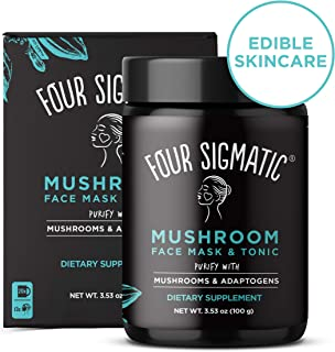 Four Sigmatic Mushroom Face Mask & Tonic - Edible Dual-Purpose Charcoal Face Mask + Superfood Tonic, Vegan, Cruelty-free, Pore Purifying - 12.64oz