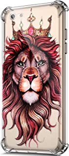 ikasus Case for iPhone 6S Plus/iPhone 6 Plus Case,Clear Embossed Art Painted Pattern Design Soft & Flexible TPU Ultra-Thin Shockproof Transparent Girls Women TPU Case Cover,Lion