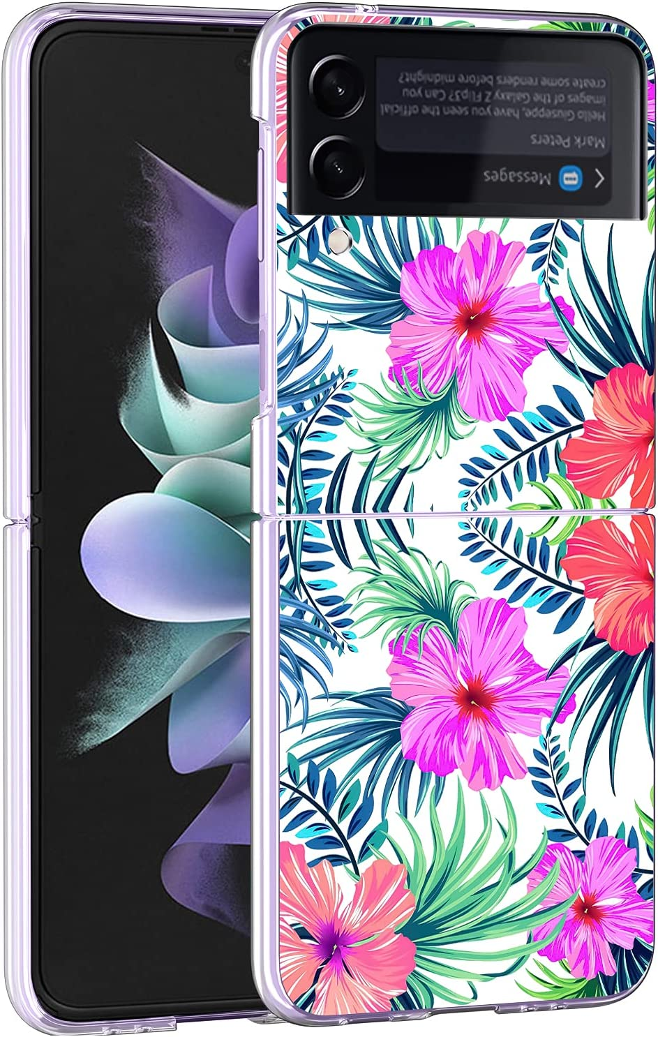 Newseego Compatible with Samsung Galaxy Z Flip 3 Clear Case, Cute Green Leaves Flower Pattern Shockproof Protective [Slim Thin] Crystal Hard PC Anti-Scratch Fashion Cover for Girls Women-Pink Flower