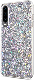 ikasus Case for Huawei P30 Case Glitter Bling Crystal Sparkly Shiny Bling Powder 3D Diamond Paillette Slim Glitter Flexible Soft Rubber Gel TPU Protective Case Cover for Huawei P30,Silver