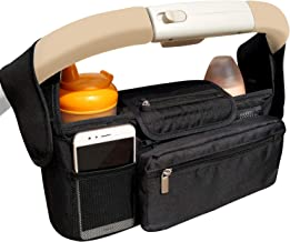 Panny & Mody Stroller Organizer Bag with Insulated Cup Holder, Detachable Phone Bag & Shoulder Strap for Smart Moms, Universal Fit for Most Strollers, The Perfect Baby Shower Gift (Black)