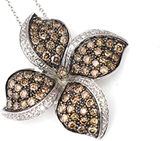 LeVian Pendant Chocolate and Vanilla Diamonds 2.62 cttw Large Flower Necklace 14k White Gold 1.33