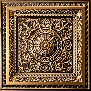 uDecor Marseille Antique Gold 2 ft. x 2 ft. Lay-in or Glue Up Ceiling Tile (Case of 12)