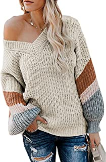 Century Star Women's Casual Sweater Loose Knit Batwing Sleeve Pullover Off The Shoulder Hollow Junper Tops V Neck Dark Nude Medium