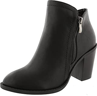 Top Moda Women's Closed Round Toe Zipper Chunky Stacked Block Heel Ankle Bootie (7 B(M) US, Black)