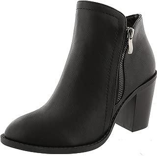 Top Moda Women's Closed Round Toe Zipper Chunky Stacked Block Heel Ankle Bootie (7 B(M) US, Black)