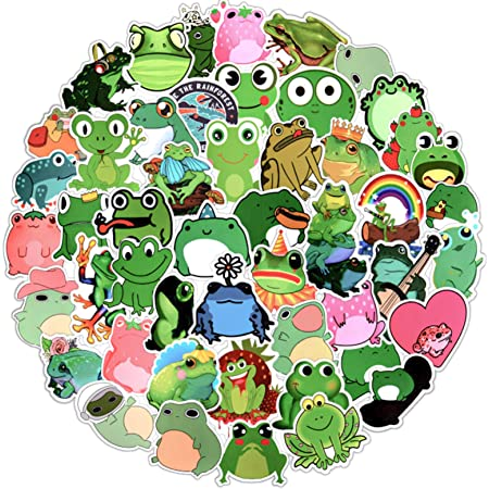 Lorvain 100 PCS Frog Stickers for Laptop,Waterproof Vinyl Sticker for Water Bottles Luggage Skateboard Computer Graffiti Decal,Frog Sticker for Kids Teens Girls