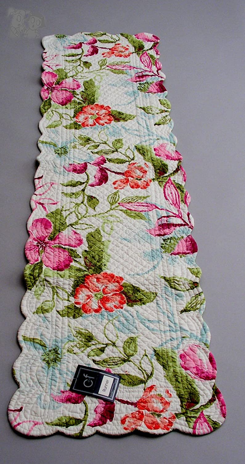 Table Runner Limited time cheap Chicago Mall sale 14x51 inches Clara Reversi Flower Quilted Design