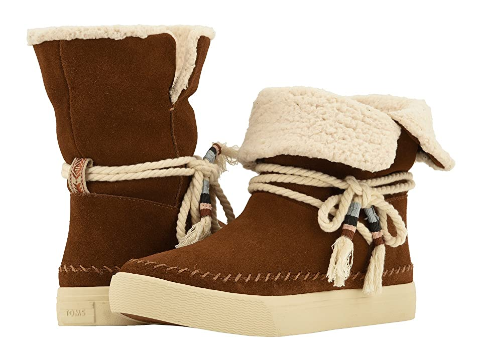 TOMS Vista Water-Resistant Boot (Dark Amber Suede/Faux Shearling) Women