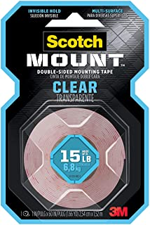 Scotch-Mount Clear Double-Sided Mounting Tape 410H, 1 in x 60 in (2,54cm x 1,52m), 1 roll/pack