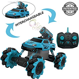 Vaiyer RC Rechargeable Remote Control Stunt Car for Kids with Interchangeable Toy Bubble Blaster and Water Gun Tops, Rock Crawler Outdoor Off Road Vehicle with 360 Degree Movement (Blue)