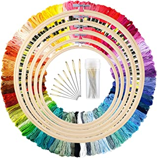 Caydo 5 Pieces Bamboo Embroidery Hoops with 100 Colors Skeins Embroidery Thread Floss..