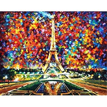 Home Wall Decor DIY Paint by Numbers Kit for Adults 24 Acrylic Paints Pre-Printed Art-Quality Canvas 20 x 16 3 Brushes Paint by Number Kit On Canvas for Beginners Tower Bridge Fireworks