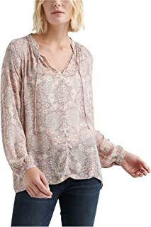 Lucky Brand womens PRINTED PEASANT TOP IN PINK MULTI Shirt