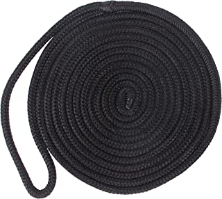 Double-Braided Nylon Dock Lines - Premium Docking Lines with 12 inch Eyelet Boat Mooring Line Anchor Rope D: 3/8 inch 1/2 inch 5/8 inch L: 16.5 FT 25 FT 50 FT