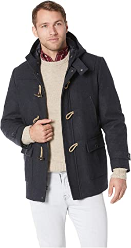 Wool Hooded Toggle and Zip Coat